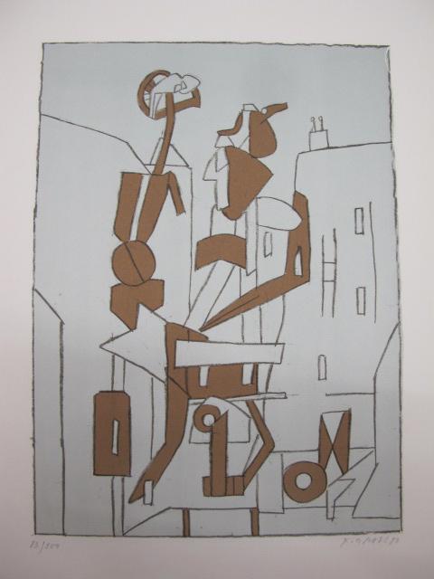 František Gross - Dvě postavy ve městě, litografie, 45 x 32cm, 1980