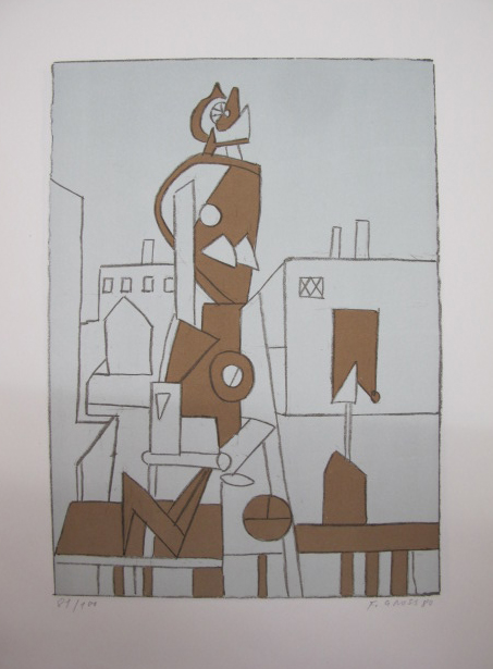 František Gross - Žena na periferii, litografie, 45 x 32cm, 1980