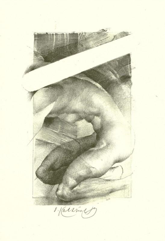 Oldřich Kulhánek - Akt, litografie, 24 x 33 cm