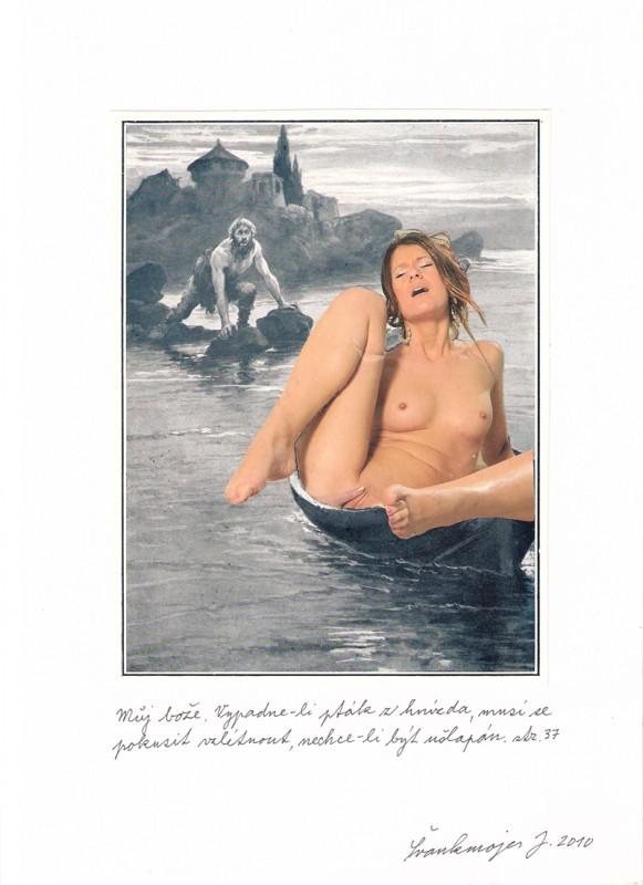 Jan Švankmajer - koláž - Biče svědomí, koláž, 20 x 30 cm, 2010