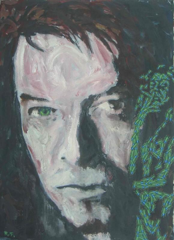 Roman Franta - David Bowie - Zelené oko, akryl na plátně, 55 x 40 cm, 2005-2010