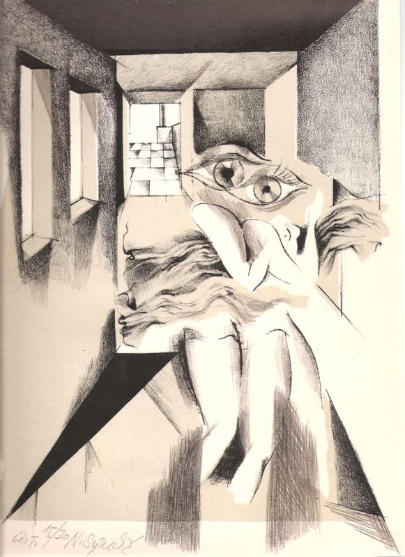 Naděžda Synecká - Dvojice, barevná litografie, 32 x 23 cm