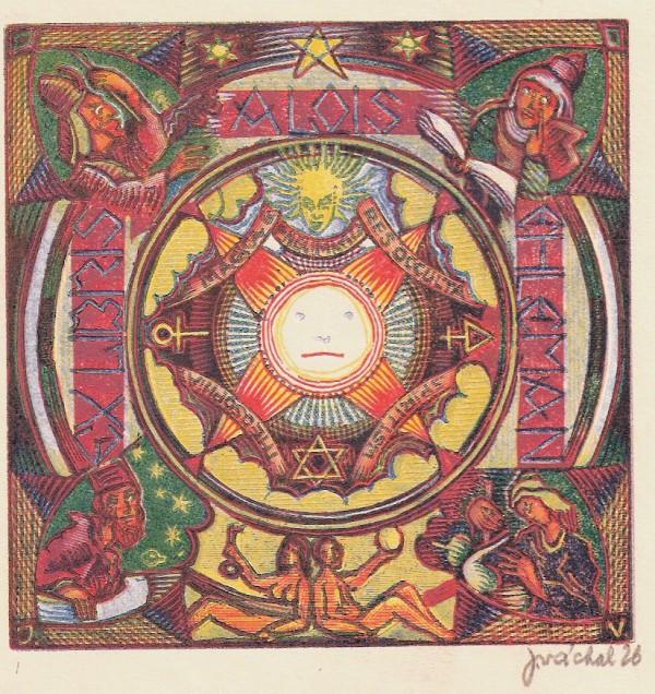 Josef Váchal - Ex libris Alois Ehleman, dřevoryt, 8 x 10 cm ,1926