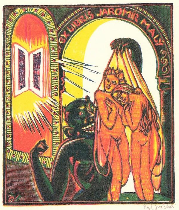 Josef Váchal - Ex libris Jaromír Malý, dřevoryt, 8 x 10 cm ,1926