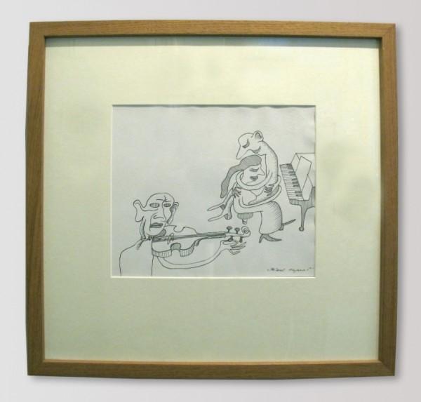 Karel Nepraš - Milenci a vrazi, kresba tuší, 48 x 48cm