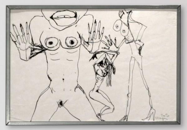 Martina Chloupa - Ve jménu lásky, tuš/papír, 2003