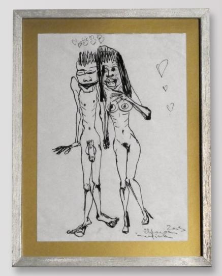 Martina Chloupa - Ve jménu lásky, soubor 9 menších kreseb, tuš/papír, 2003