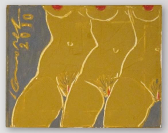 Ivan Komárek - Tři grácie, akryl na plátně, 30 x 23 cm, 2010