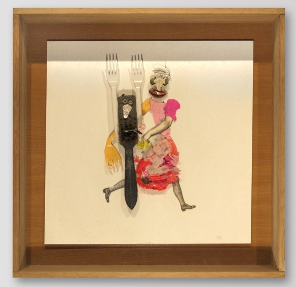 Xénia Hoffmeisterová - Láska je slepá, asambláž, 50 x 50 cm, 2009