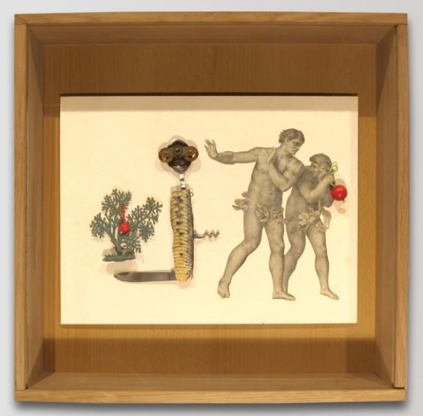 Xénia Hoffmeisterová - Adam a Eva, asambláž, 40 x 40 cm, 2010