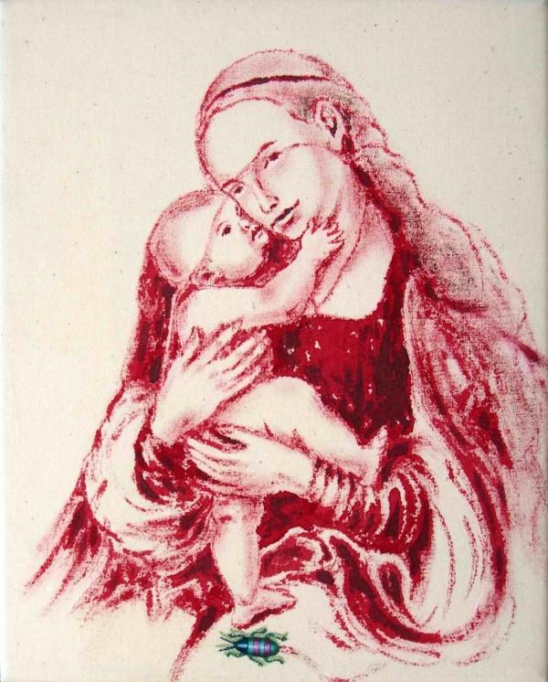 Roman Franta - Madona dle L. Cranacha, vlastní krev, akryl na plátně, 25 x 20 cm, 2004