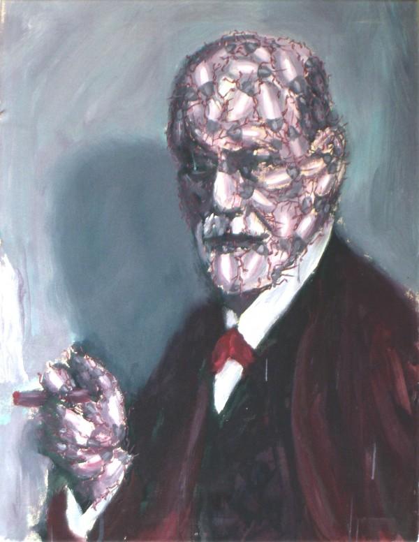 Roman Franta - S.Freud, akryl na plátně, 90 x 65 cm, 2005