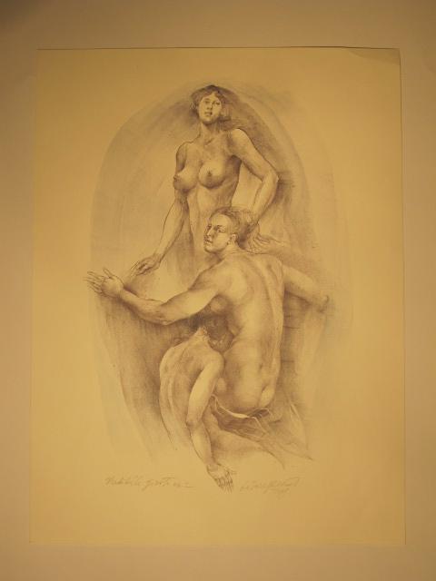 Oldřich Kulhánek - Touha, litografie, 45 x 85 cm