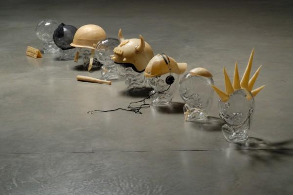 Milan Cais - Některé varianty bytí, foukané sklo/vosk/komb. tech., 40x30x30 cm, 2006