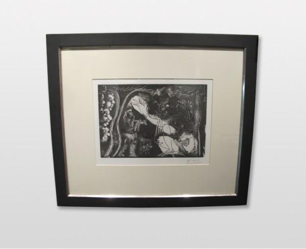 Pablo Picasso - Kompozice, akvatinta/lept, 1966