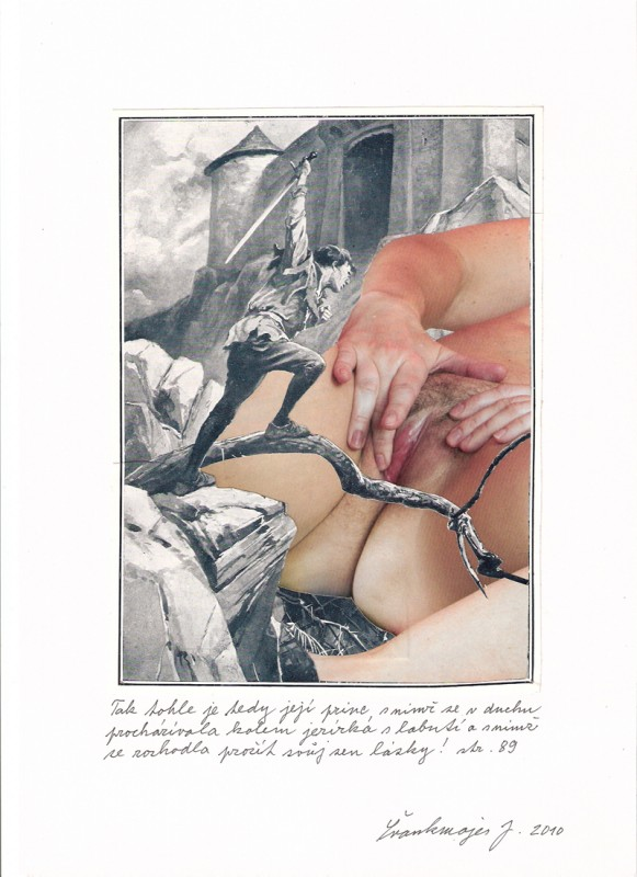 Jan Švankmajer - koláž - Biče svědomí koláž, 20 x 30 cm, 201