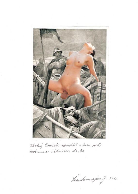 Jan Švankmajer - koláž - Biče svědomí koláž, 20 x 30 cm, 2010