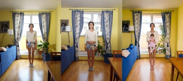 Julie Štybnarová: Autoportréty (triptych), fotografie, 2005-08