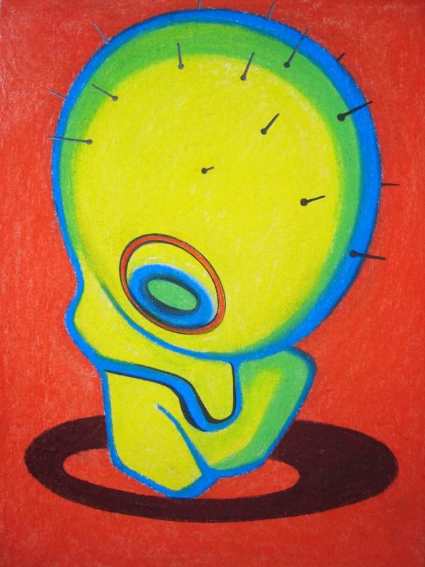 Cais Milan: Z cyklu Rodina nedotknutelných, pastel + komb. tech na kartonu, 40x30cm, 2007