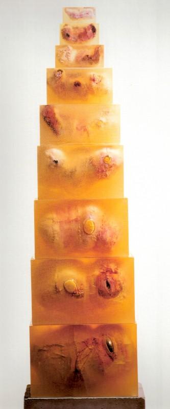 Daniel Pešta: Sloup 4 (Geneze v plodové vodě), 2004-2008, kůže, pryskyřice, beton, v.200cm