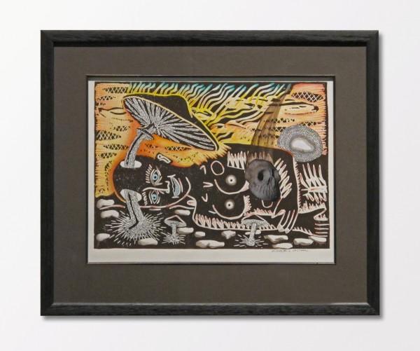 David Cajthaml: Houba s lebkou, linoryt, pastelky, koláž, 2011, 1/1