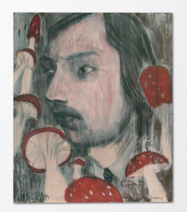 Martin Šárovec: Dangerous Mushroomer, akryl a email na překližce, 2011