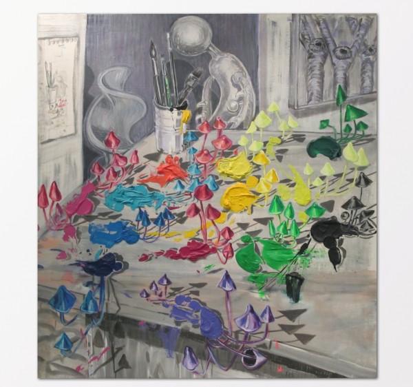 Xenia Hoffmeisterová: Houbičky, akryl na plátně, 2009