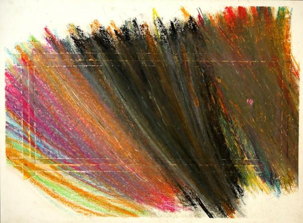 Pomp Uschi: Bez názvu, Olejová křída na papíře, 2001, 56x76 cm