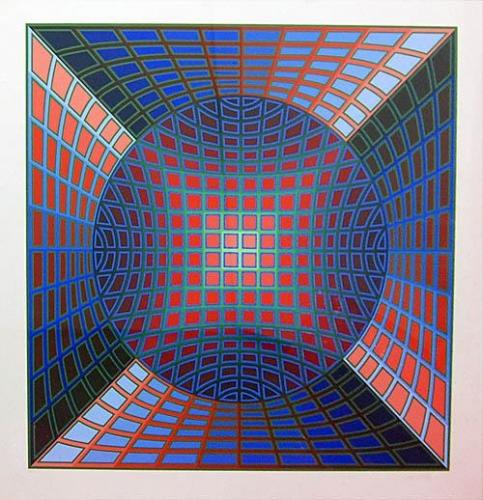 Victor Vasarely: VI-VA, serigrafie, signováno PD, číslováno 142/250, 79x79 cm
