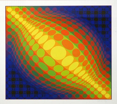 Victor Vasarely: Globe, serigrafie, signováno PD, číslováno 56/250, 65,5x65,5 cm