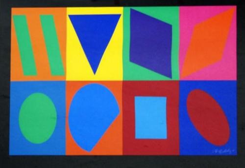 Victor Vasarely: Tvary, serigrafie, signováno PD, 44,5x90 cm
