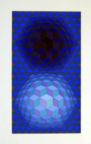 Victor Vasarely: Optická kompozice, serigrafie, signováno PD, číslováno 27/225, 90x49 cm