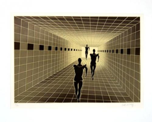 Victor Vasarely: Lidé , serigrafie, signováno PD, číslováno 57/200, 39x58 cm