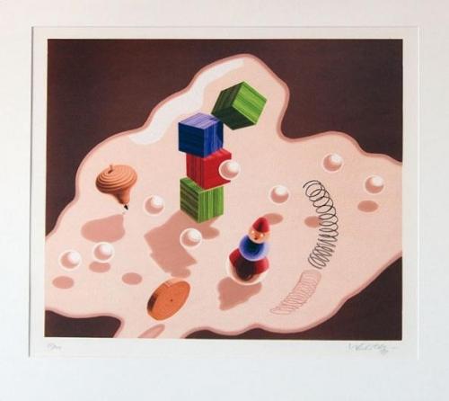 Victor Vasarely: Hračky, serigrafie, signováno PD, číslováno 57/200, 44x48 cm