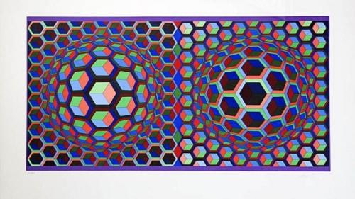 Victor Vasarely: Optická kompozice, serigrafie, signováno PD, číslováno 101/250, 48x90 cm