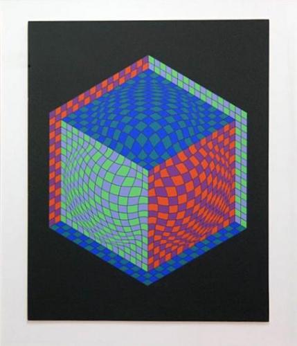 Victor Vasarely: Optická kompozice, serigrafie, signováno DU, číslováno 60/100, 61x52,5 cm