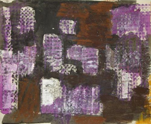 Endre Nemeš: Městské Elegie, akryl, tempera, karton, rok 1960, signováno PN, 46x65 cm