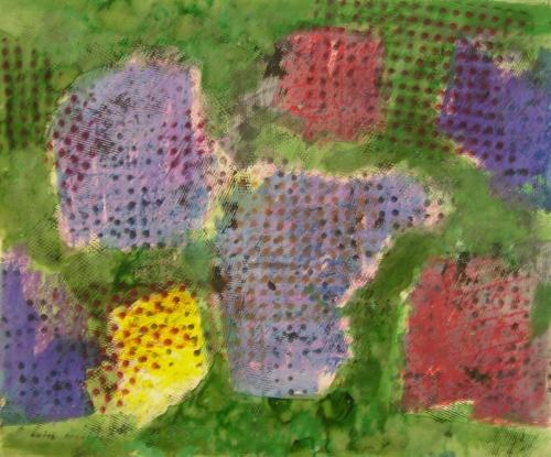 Endre Nemeš: Známky jara, akryl, tempera, karton, rok 1960, signováno LD, 37x44,5 cm