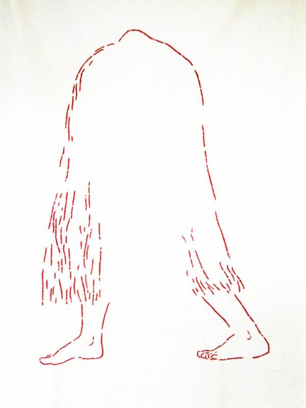 Dagmar Šubrtová: Žena-skřet, 2011, ruční výšivka,120x70 cm