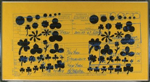 Andy Warhol: SAS PASSENGER TICKET, serigrafie, rok 1968, signováno vzadu A.Warhol, 68x124 cm
