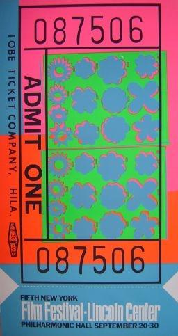 Andy Warhol: Lincoln Center ticket, serigrafie, rok 1967, 114x61 cm