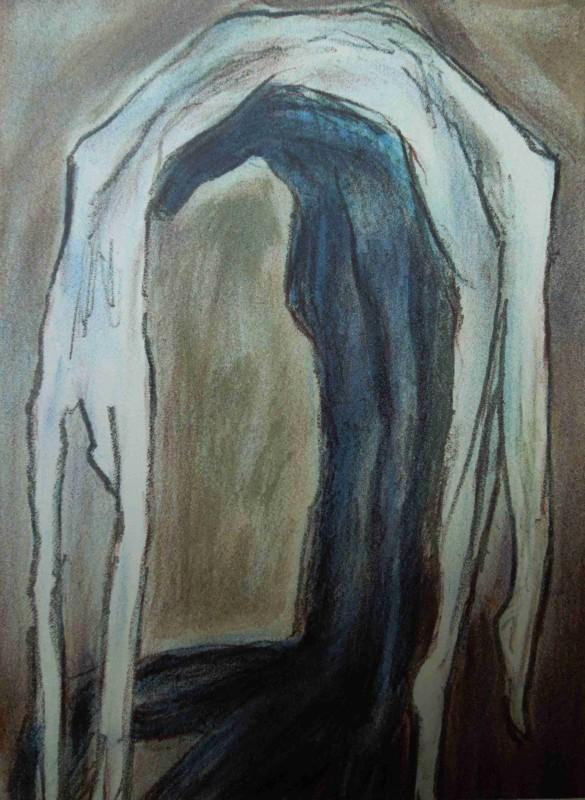 Jitka Válová: Pod tíhou, pastel, plátno, 80.léta / Under the Weight, pastel on canvas, 80´s.