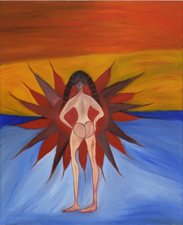 La Inthonkaew: Žena vstupující do slunce, olej na plátně, 2018